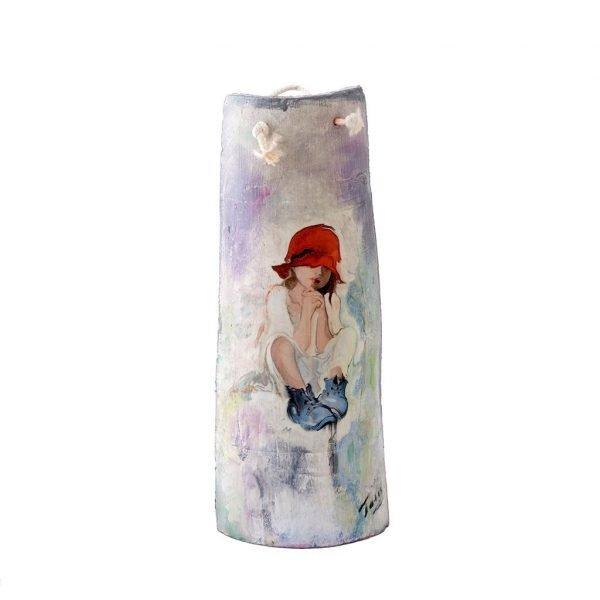 """Κεραμικό διακοσμητικό τοίχου """"Κορίτσι με καπέλο"""""""