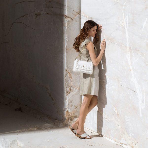 "Miss Polyplexi ""Lydia"" λευκή τσάντα ώμου"