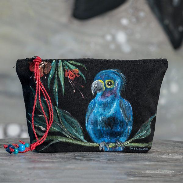 Ζωγραφιστή clutch τσάντα (παπαγάλος)