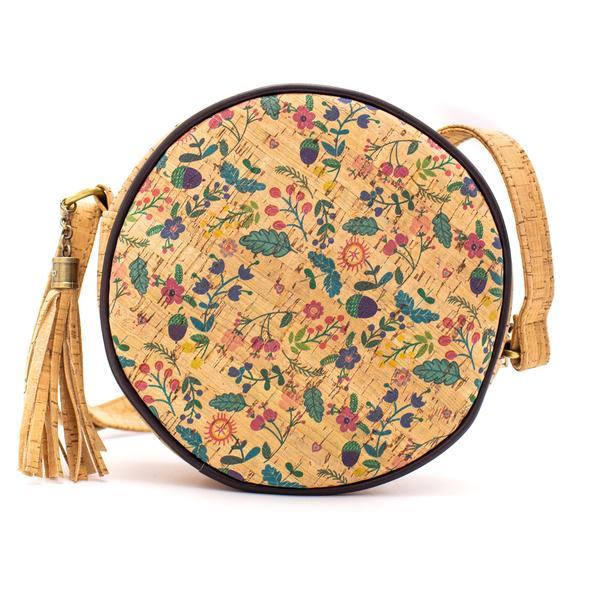 Στρογγυλή τσάντα φελλού χιαστί little flowers