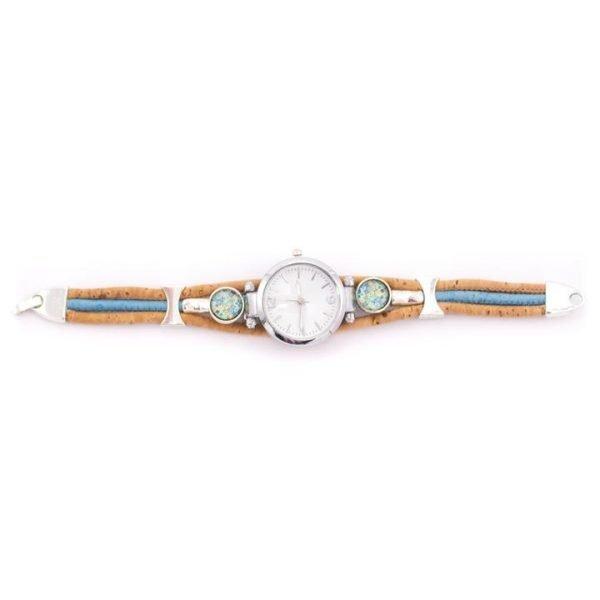 Ρολόι βραχιόλι φυσικός φελλός (γαλάζιο)