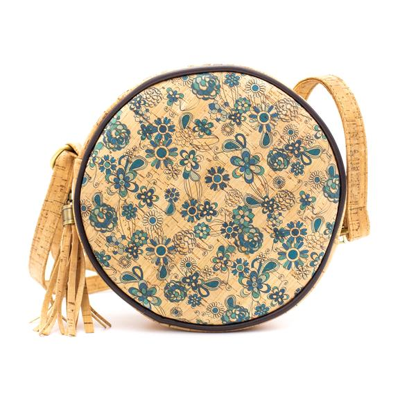 Στρογγυλή τσάντα φελλού χιαστί blue flowers