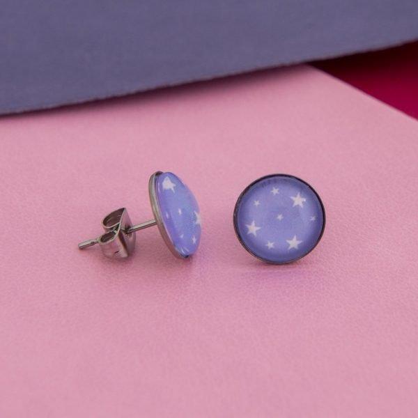 Καρφωτα σκουλαρίκια Stars (μοβ)