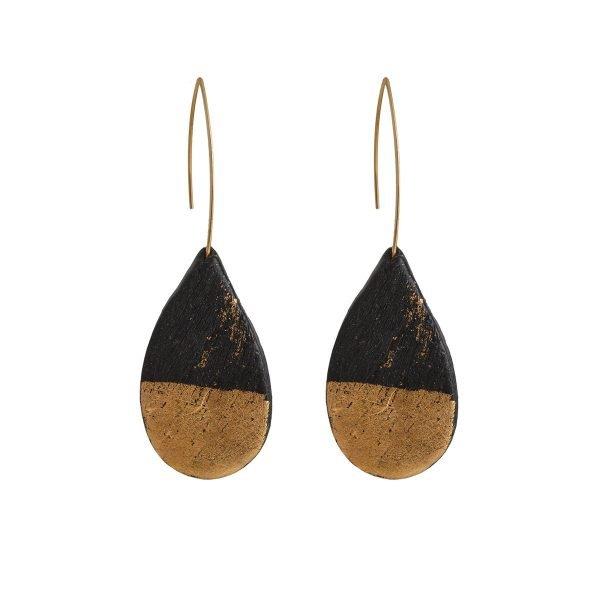 Πήλινα σκουλαρίκια σε μαύρο καμβά (χρυσό)