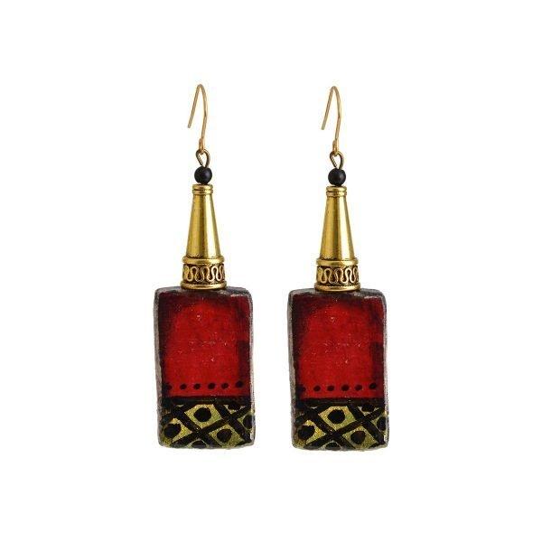 Ορθογώνια σκουλαρίκια Red n Gold