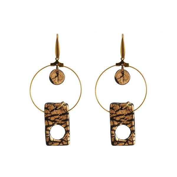 Πήλινα σκουλαρίκια με γεωμετρικά σχήματα (χρυσό ή ασημί)