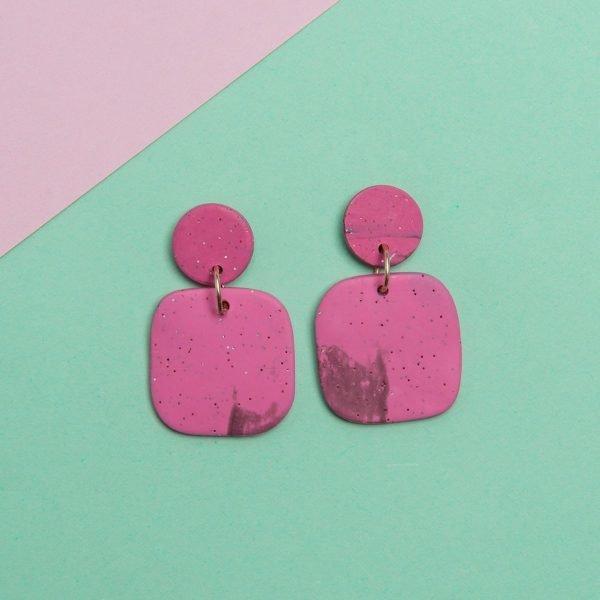 Violet τετράγωνα σκουλαρίκια