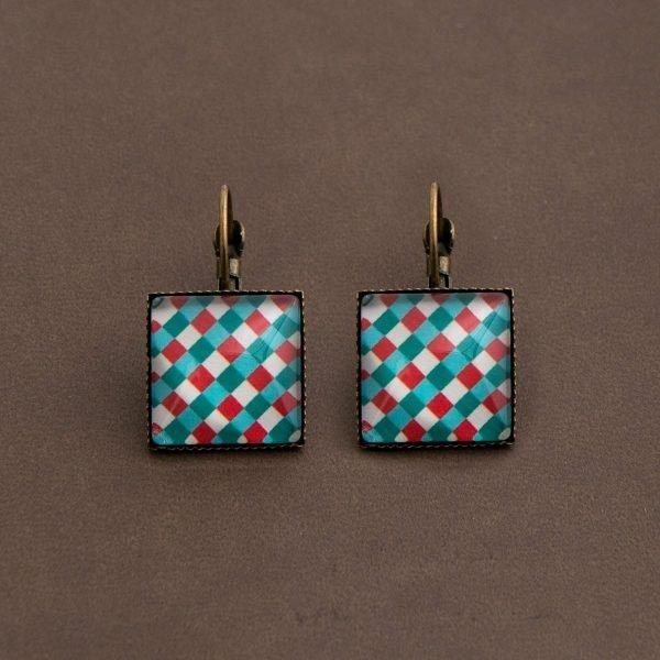 Κρεμαστά Σκουλαρίκια Blue-Red Tartan τετράγωνα