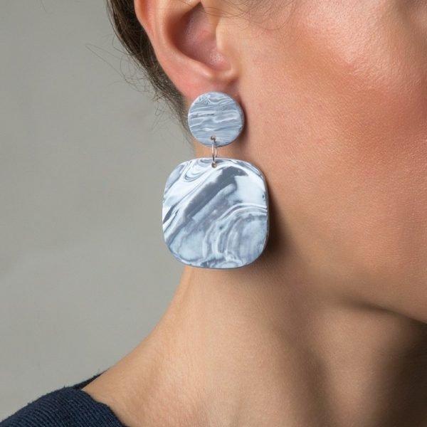 Marble Grey κρεμαστά σκουλαρίκια