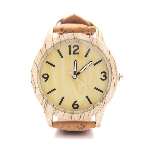 Ρολόι unisex μπεζ φυσικός φελλός