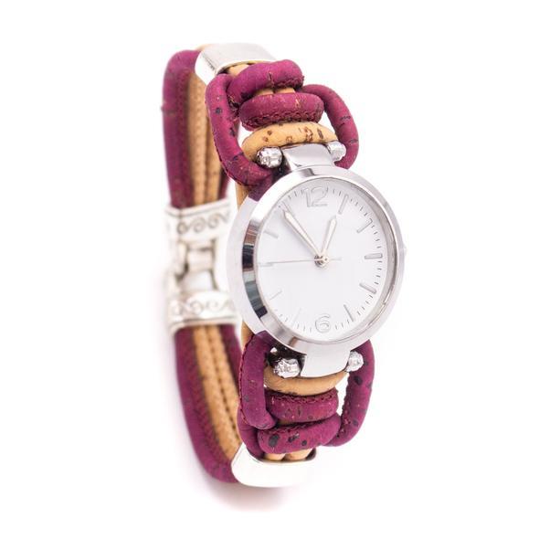 Ρολόι βραχιόλι φυσικός φελλός (μπορντώ)