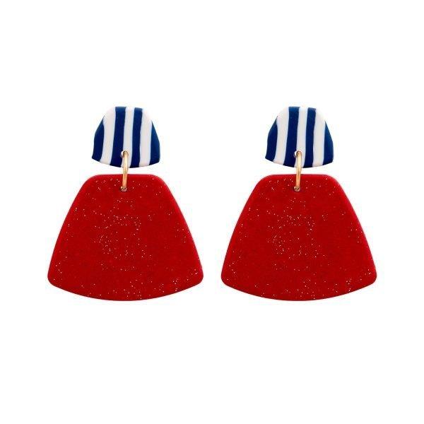 Πήλινα σκουλαρίκια Navy Red