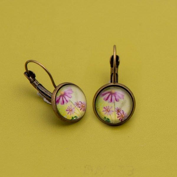 Vintage σκουλαρίκια Pink Flower
