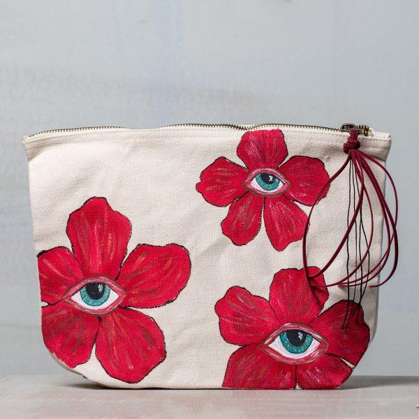 Ιβουάρ υφασμάτινη τσάντα Eye Flowers