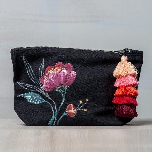 Ζωγραφιστή υφαρμάτινη τσάντα με φουντίτσες