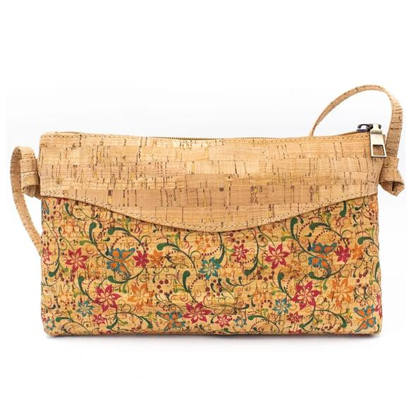 Floral τσάντα φελλού χιαστή